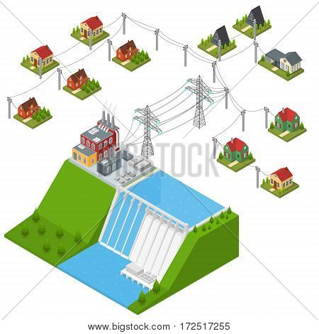Hydroelectricity Power Station Isometric View Alternative Energy Concept. Dam on The River with Houses and Building Transmission Structure. Vector illustration