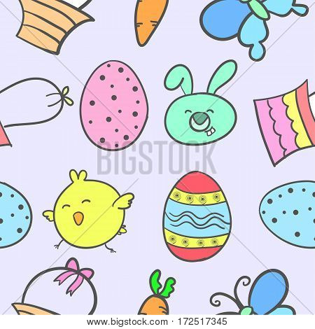 Style easter colorful of doodles vector art