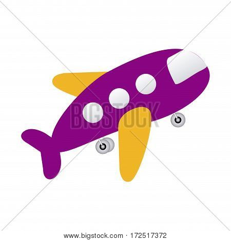 purple toy airplane fly icon, vector illustration design
