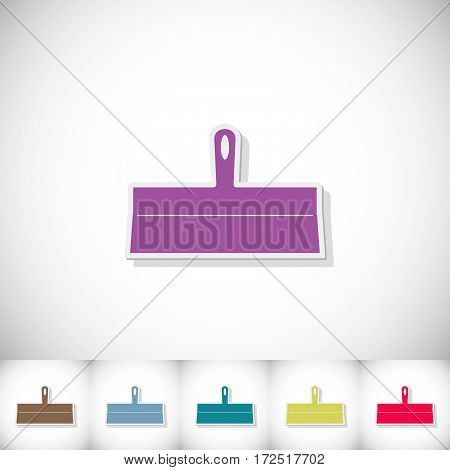 Trowel. Flat sticker with shadow on white background. Vector illustration
