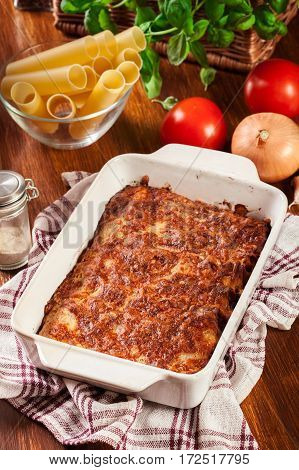 Italian Cannelloni Pasta Baked In Casserole Dish