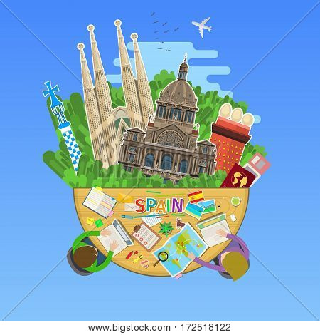 Concept of travel to Spain or studying Spanish. Spanish flag with landmarks in the office. Flat design, vector illustration