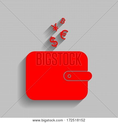 Wallet sign with currency symbols. Vector. Red icon with soft shadow on gray background.