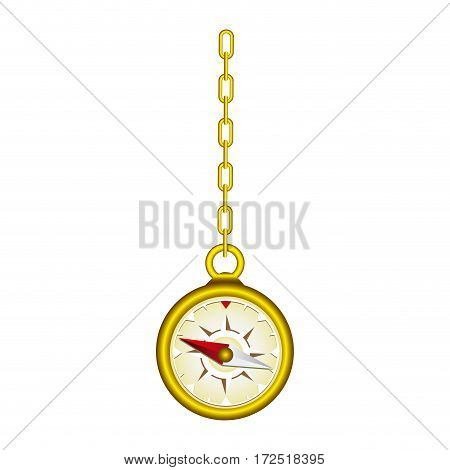 gold compass hanging icon, vector illustration design