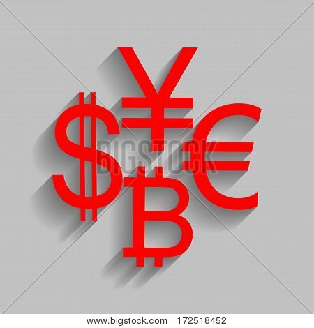 Currency sign collection dollar, euro, bitcoin, yen. Vector. Red icon with soft shadow on gray background.