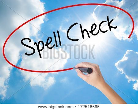 Woman Hand Writing Spell Check  With Black Marker On Visual Screen