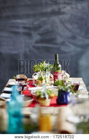 Organic food on served table