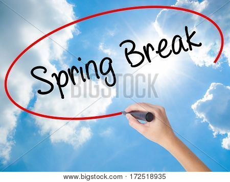 Woman Hand Writing Spring Break No With Black Marker On Visual Screen