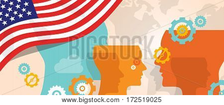 USA United States of America concept of thinking growing innovation discuss country future brain storming under different view represented with heads gears and flag vector