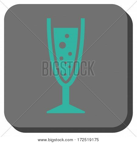 Champagne Glass interface icon. Vector pictogram style is a flat symbol centered in a rounded square button cyan and gray colors.