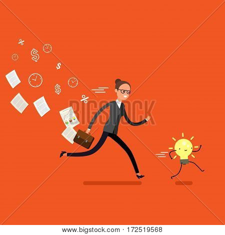 Concept of idea. Business woman running and try to catch idea. Flat design, vector illustration.