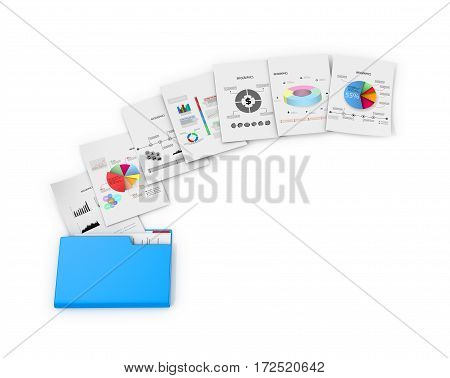 Office documents and folders on a white background. 3D illlustration