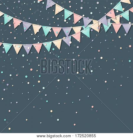 Bunting Flags. Gorgeous Celebration Card With Colorful Paper Bunting Flags And Confetti. Party Backg