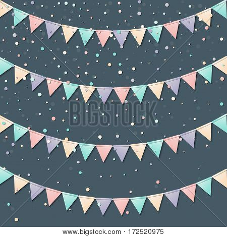 Bunting Garland. Shapely Celebration Card With Colorful Paper Bunting Garland And Confetti. Party Ba