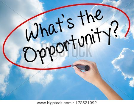Woman Hand Writing What's The Opportunity?  With Black Marker On Visual Screen