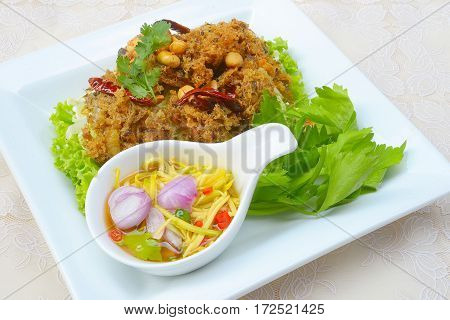 Crispy catfish salad with green mango and vegetable