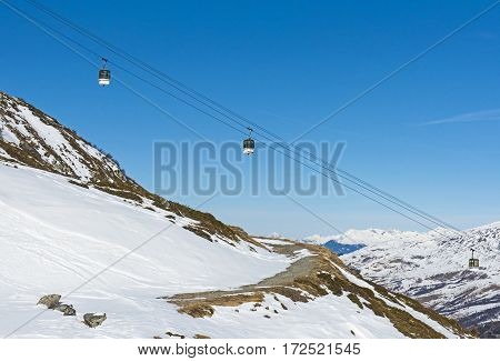 View Of An Alpine Ski Slope With Cable Car Lift