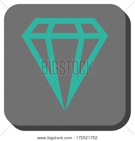 Gem toolbar button. Vector pictogram style is a flat symbol on a rounded square button cyan and gray colors.