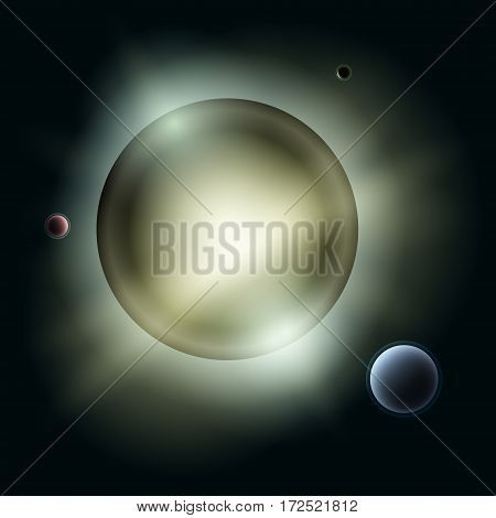 Star with Satellites, Sun with Planets in Space, Yellow Light of Stars in Universe, Abstract Background, Vector Illustration
