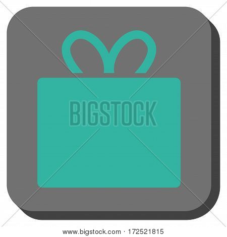 Gift rounded button. Vector pictogram style is a flat symbol inside a rounded square button cyan and gray colors.