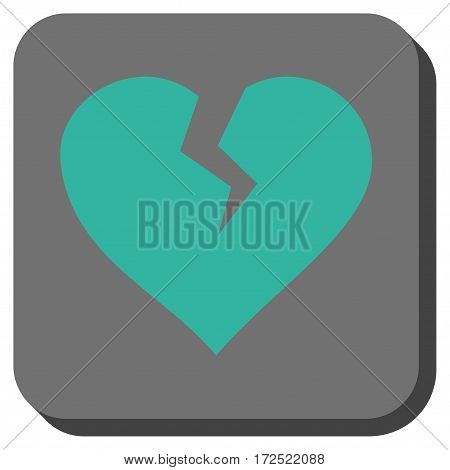 Heart Break toolbar icon. Vector pictograph style is a flat symbol centered in a rounded square button cyan and gray colors.