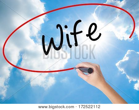 Woman Hand Writing Wife With Black Marker On Visual Screen