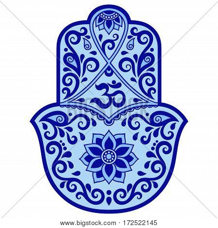 Color vector hamsa hand drawn symbol. Decorative pattern in oriental style. OM symbol.