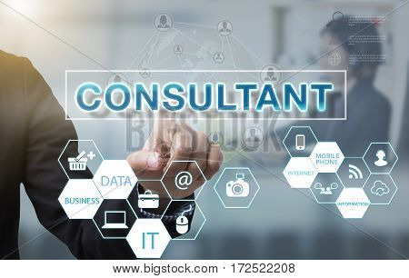 Businessman hand chooses Consultant wording on interface screen. internet technology service concept.
