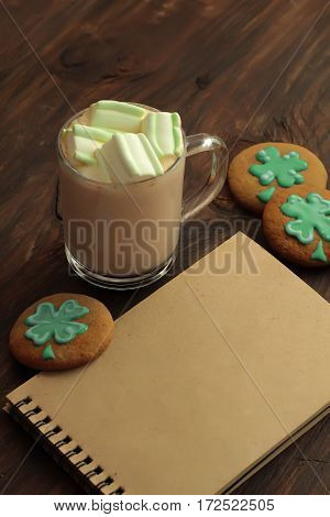Decorative Cookies On Wooden Background. Saint Patricks Day Concept