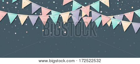 Bunting Flags. Awesome Celebration Card With Colorful Paper Bunting Flags And Confetti. Party Backgr