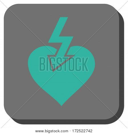 Heart Shock Strike interface icon. Vector pictograph style is a flat symbol centered in a rounded square button cyan and gray colors.