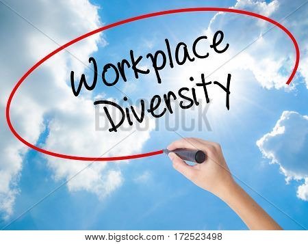 Woman Hand Writing Workplace Diversity  With Black Marker On Visual Screen
