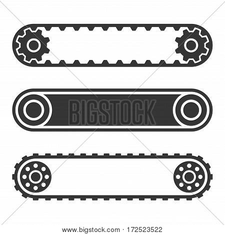 Conveyor Belt Line Set on White Background. Vector illustration