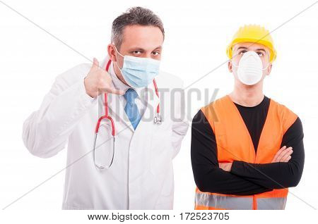 Doctor Showing Call Me Gesture And Constructor Looking Up