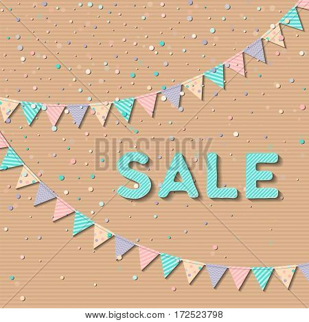 Bunting Garland. Enchanting Celebration Card With Colorful Paper Bunting Garland And Confetti. Party