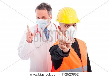 Doctor And Constructor Showing Denial Gesture