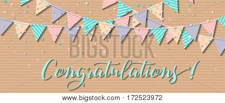 Bunting Flags. Delightful Celebration Card With Colorful Paper Bunting Flags And Confetti. Party Bac