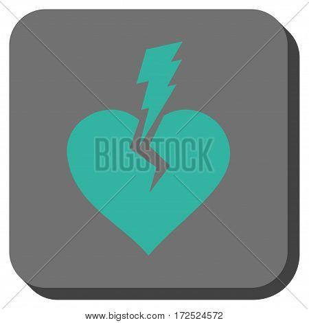 Love Heart Crash toolbar icon. Vector pictograph style is a flat symbol inside a rounded square button cyan and gray colors.