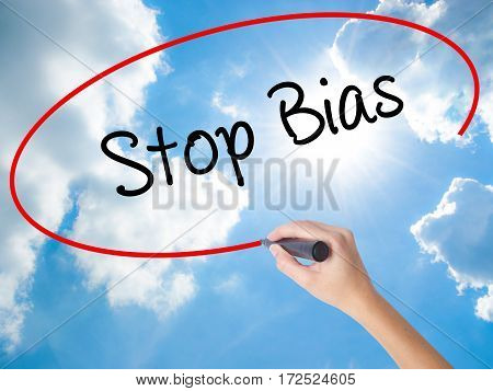 Woman Hand Writing Stop Bias With Black Marker On Visual Screen