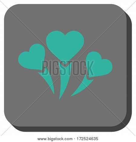 Love Heart Fireworks toolbar icon. Vector pictograph style is a flat symbol in a rounded square button cyan and gray colors.