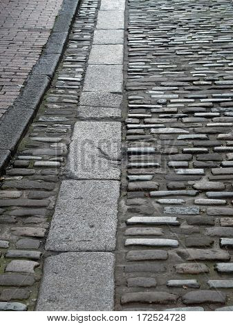 Traditional cobbled street in Lewes East Sussex