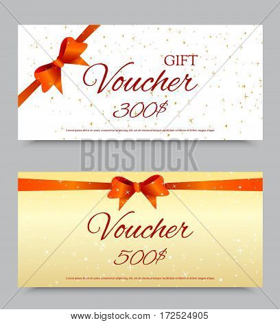 Gift voucher template on three and five hundred dollars with orange ribbon bow and light festive starry pattern. Vector illustration