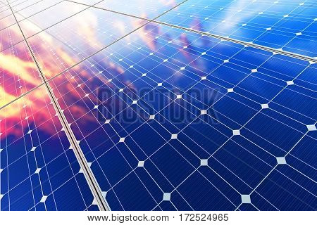 3D render illustration of the group of solar battery panel modules against scenic sunset with blue sky with sun light
