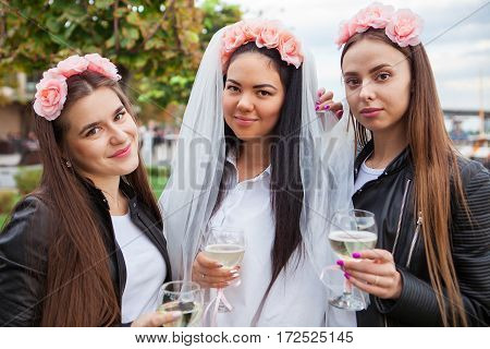 Group Happines Women With Champagne At Hen Party