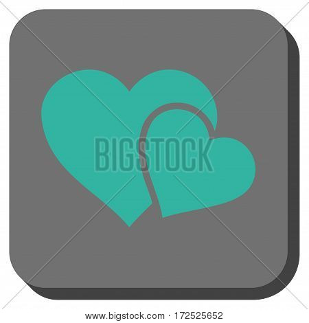 Love Hearts toolbar icon. Vector pictogram style is a flat symbol centered in a rounded square button cyan and gray colors.