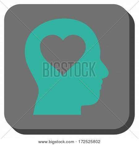 Love In Head interface button. Vector pictogram style is a flat symbol centered in a rounded square button cyan and gray colors.