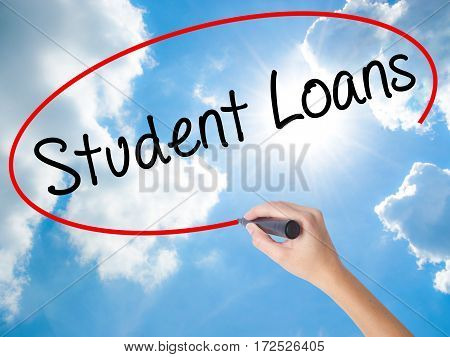 Woman Hand Writing Student Loans With Black Marker On Visual Screen