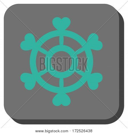 Lovely Boat Steering Wheel interface toolbar button. Vector pictograph style is a flat symbol inside a rounded square button cyan and gray colors.