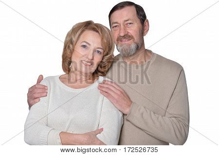 smiling mature couple close up portrait posing against white background