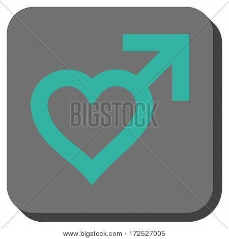 Male Heart interface button. Vector pictogram style is a flat symbol in a rounded square button cyan and gray colors.
